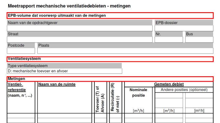 Eisen inregelrapport ventilatie systeem D