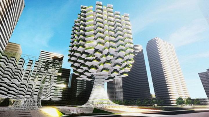 De stad van de toekomst: groene wanden en vertical farming.