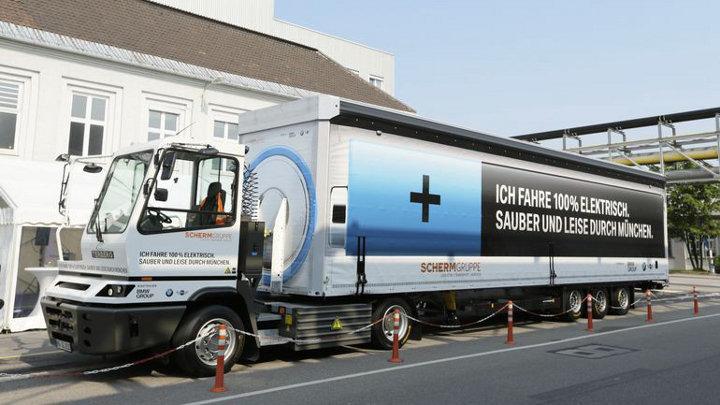 100% elektrische vrachtwagen op de weg in Duitsland