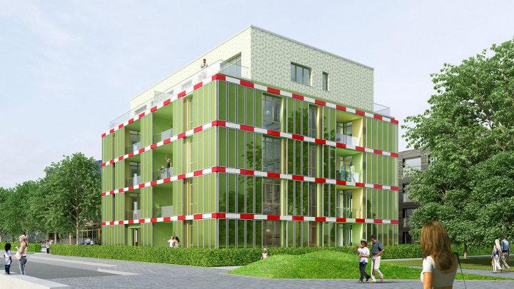 Gebouw in Hamburg voorziet in zijn energiebehoefte door kweken van algen